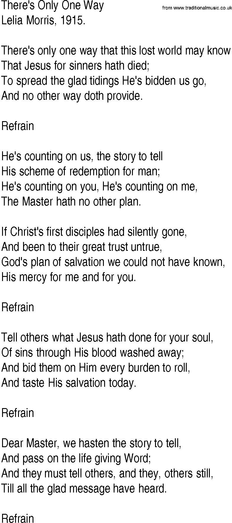 Hymn And Gospel Song Theres Only One Way By Lelia Morris Lyrics