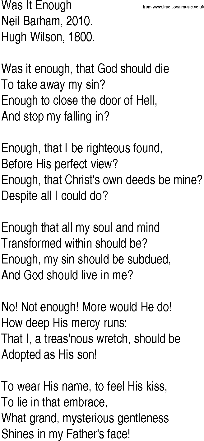 Hymn and Gospel Song Lyrics for Was It Enough by Neil Barham