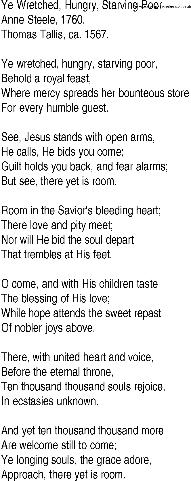 Hymn And Gospel Song Lyrics For Ye Wretched Hungry