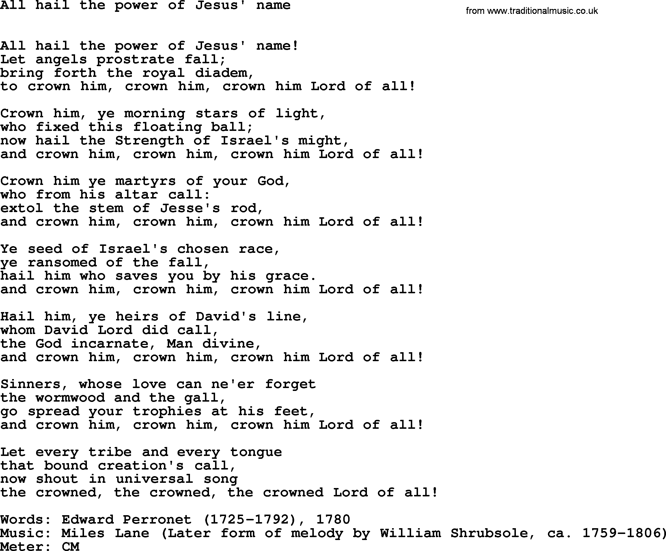 All Hail the Power of Jesus' Name - Lyrics, Hymn Meaning ...