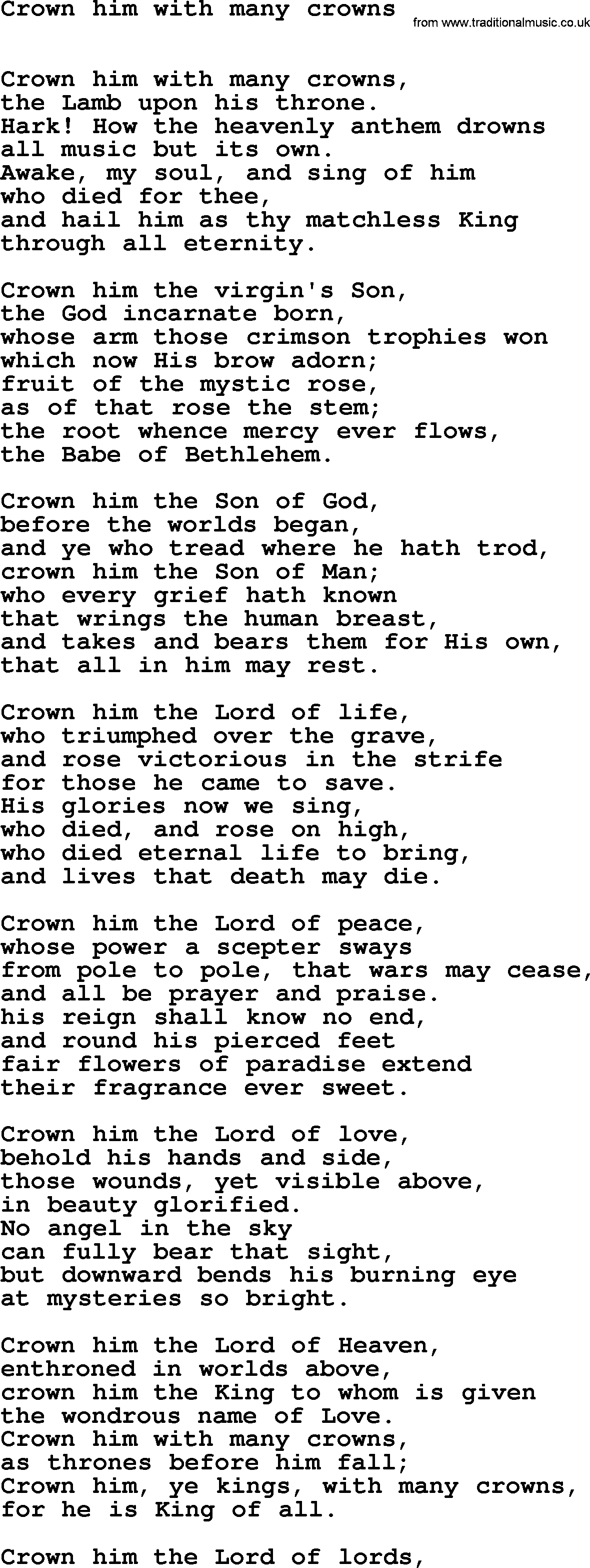 hymns ancient and modern song crown him with many crowns