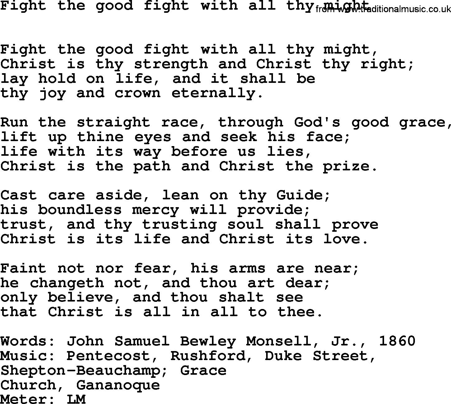 Modern Music Words: Hymns Ancient And Modern, Song: Fight The Good Fight With