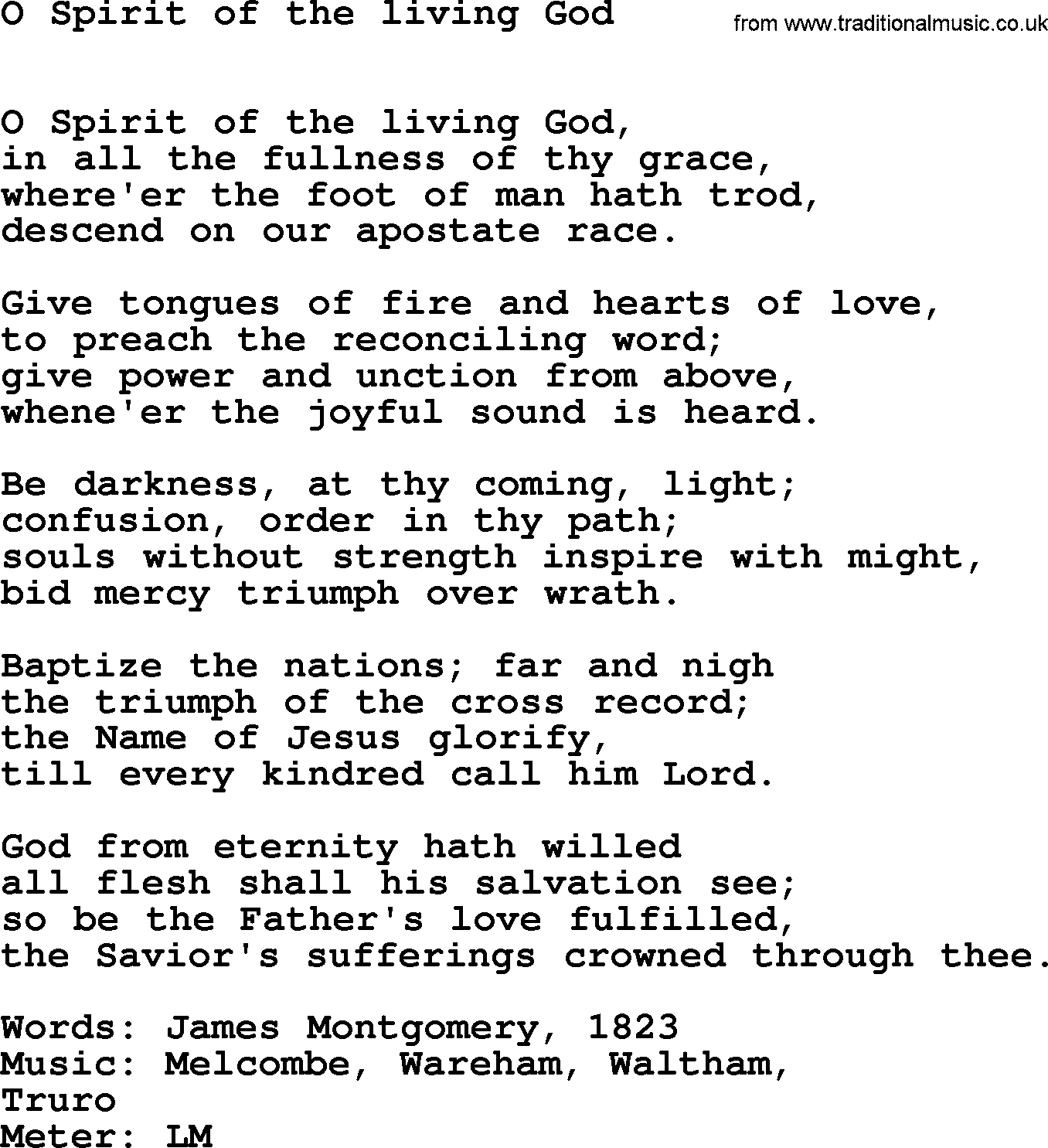 Hymns Ancient and Modern, Song: O Spirit Of The Living God ...