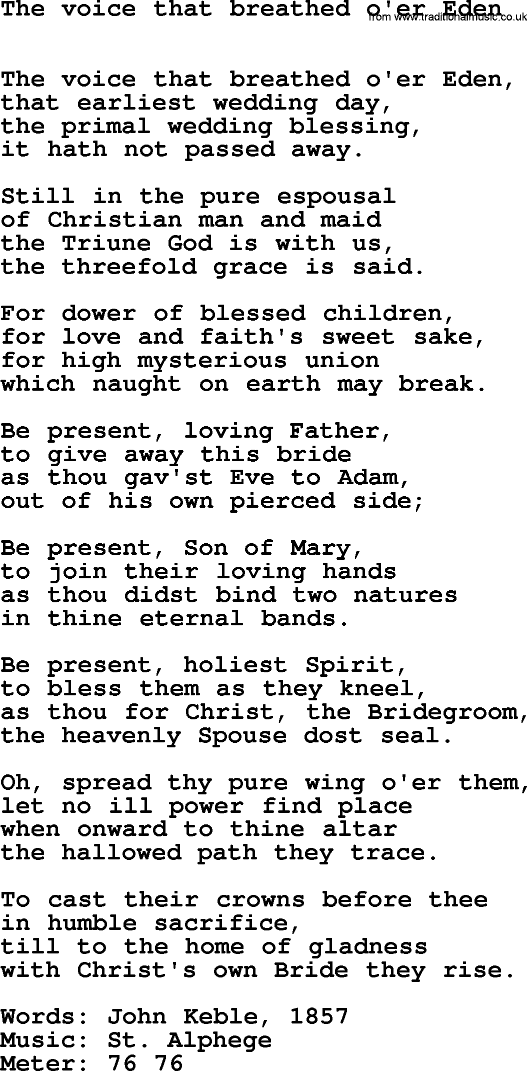 Hymns Ancient and Modern Hymn: The Voice That Breathed O'er Eden, lyrics