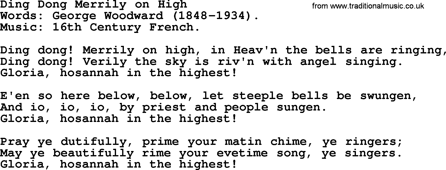 Hymns about Angels, Song: Ding Dong Merrily On High ...