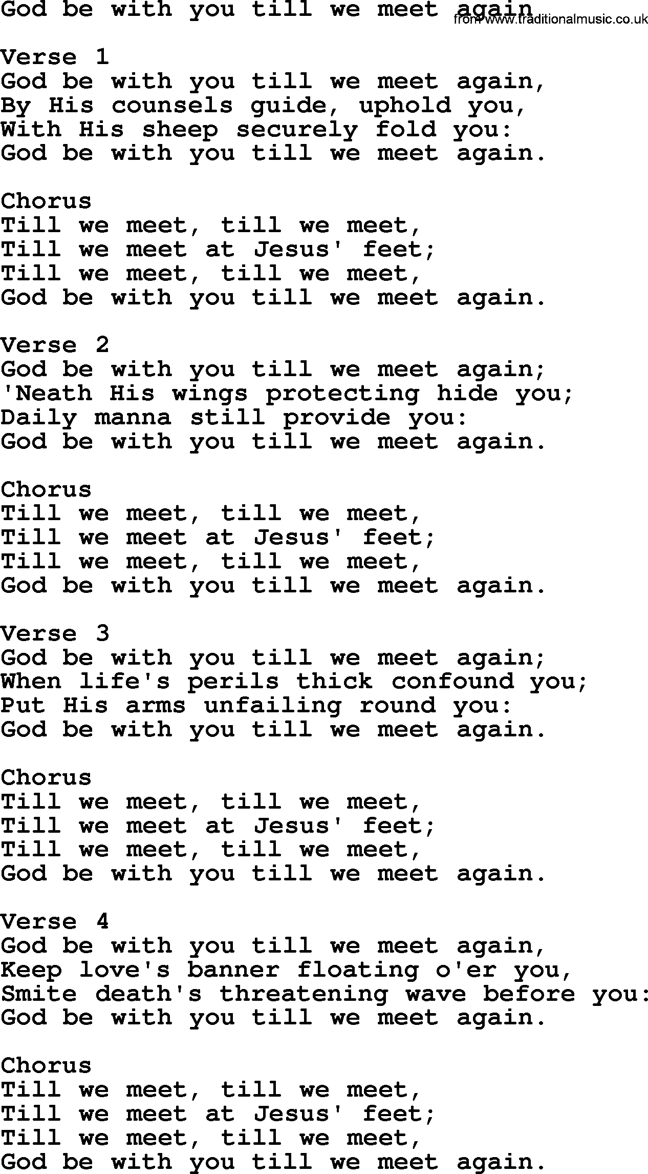 God be with you till we meet again chords pdf