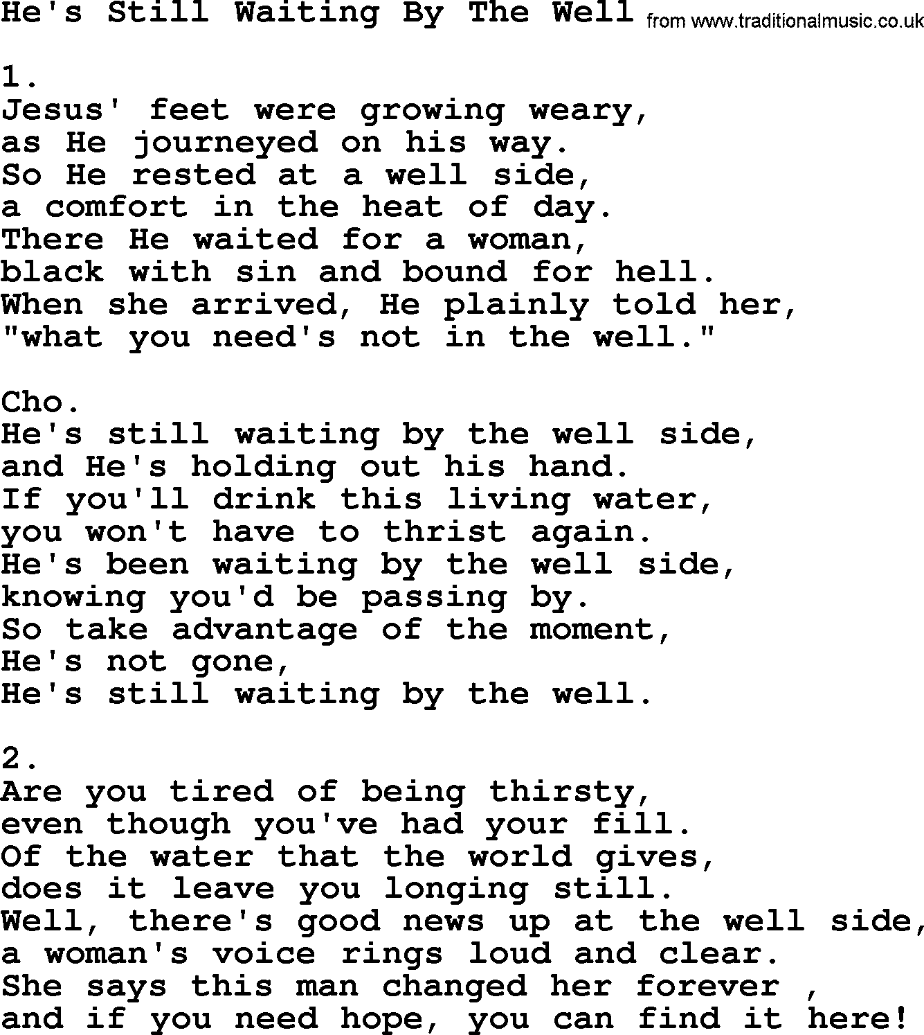 Hes still waiting by the well apostolic and pentecostal hymns apostolic pentecostal hymns and songs hymn hes still waiting by the well lyrics hexwebz Gallery