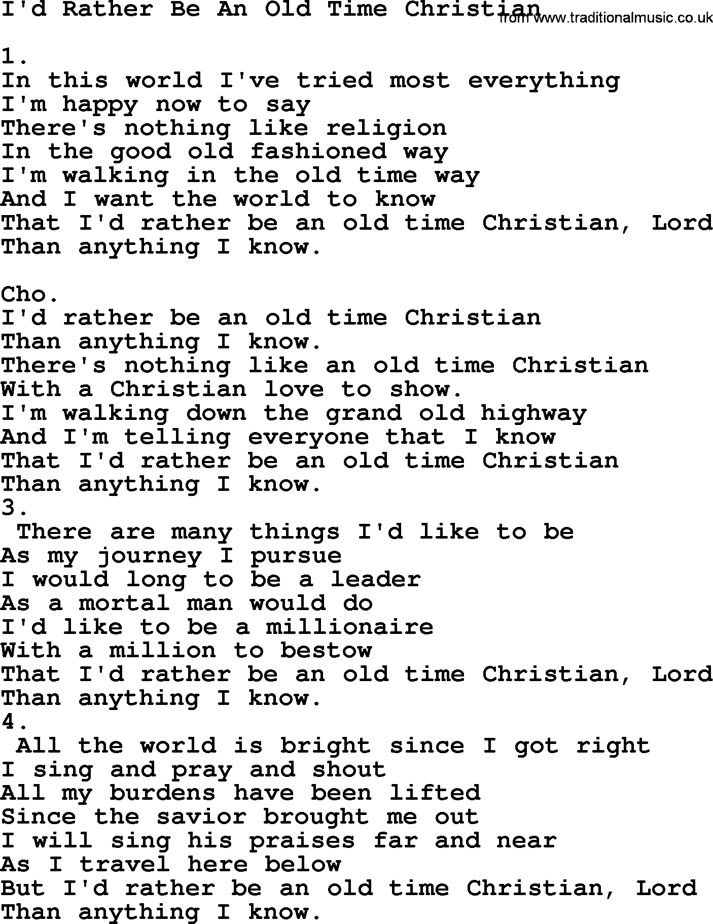 Old time christian lyrics