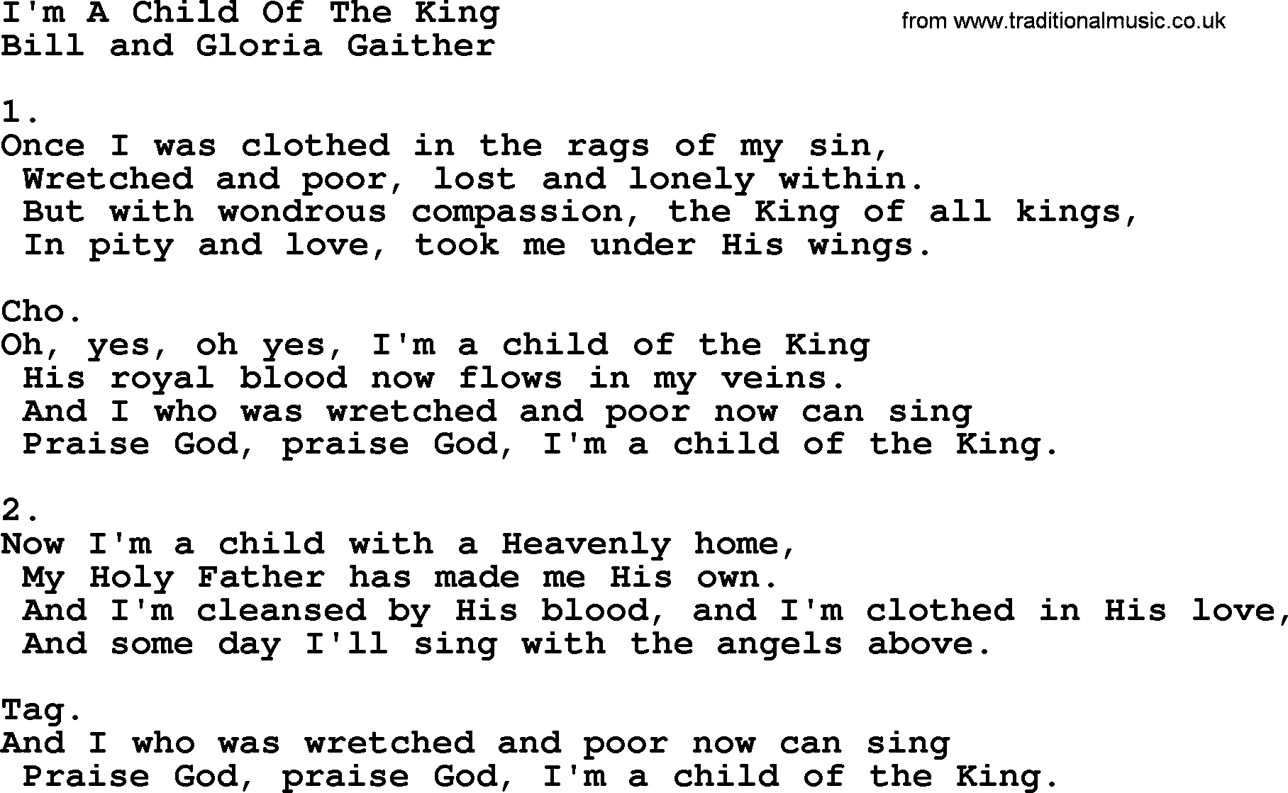 Child of the King Lyrics