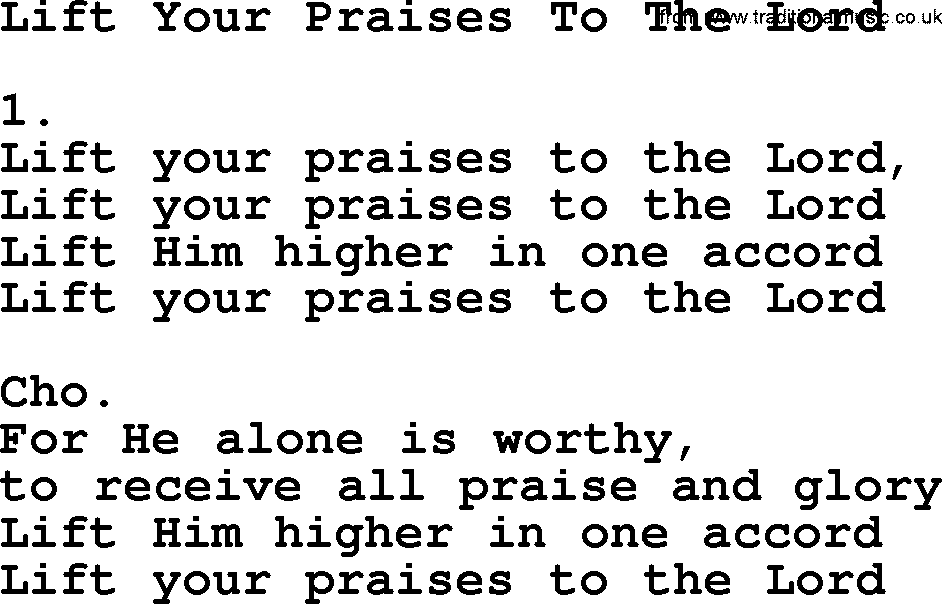 Lift Your Praises To The Lord Apostolic And Pentecostal Hymns And