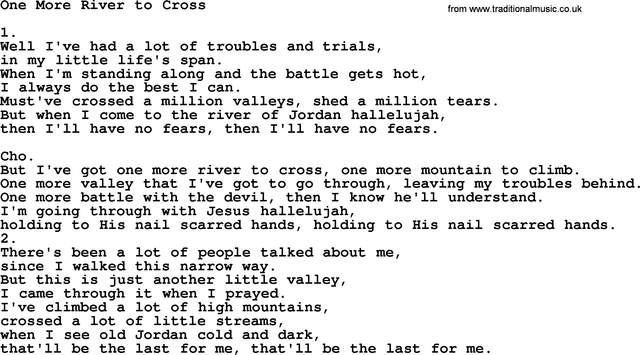 One More River to Cross - Apostolic and Pentecostal Hymns and Songs ...