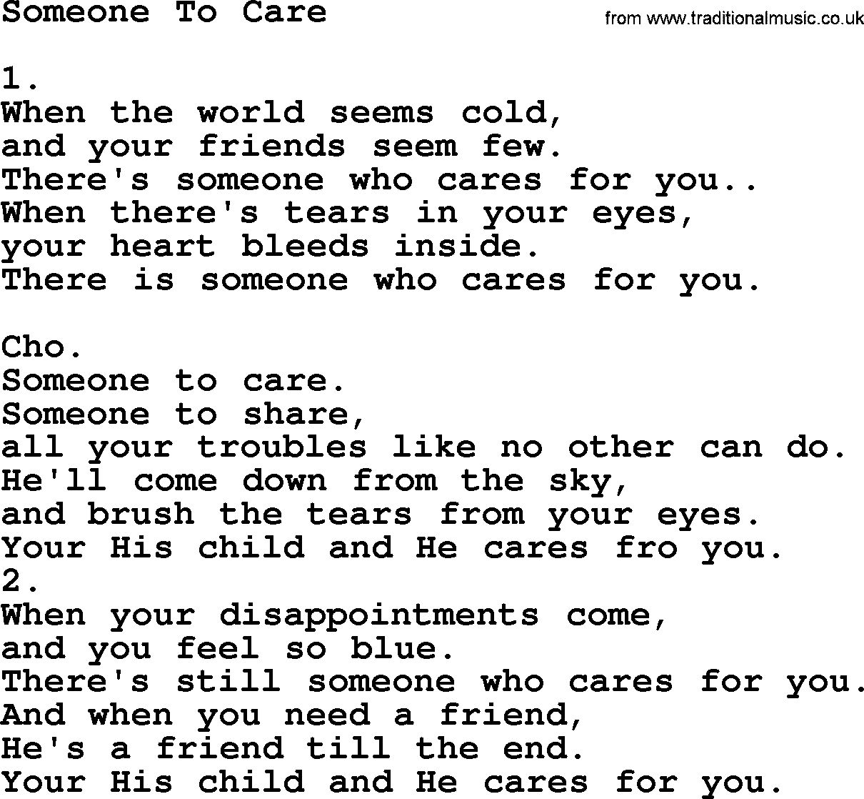 Someone To Care Someone To Share Lyrics