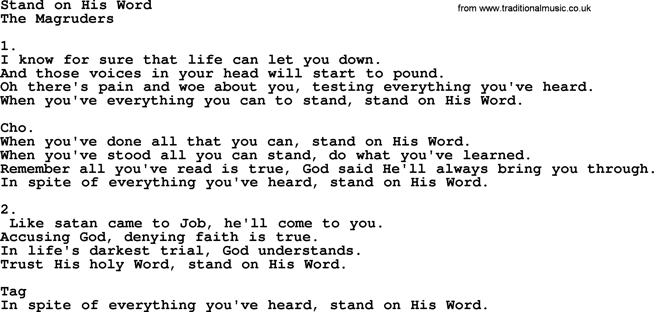 Stand on His Word - Apostolic and Pentecostal Hymns and Songs ...