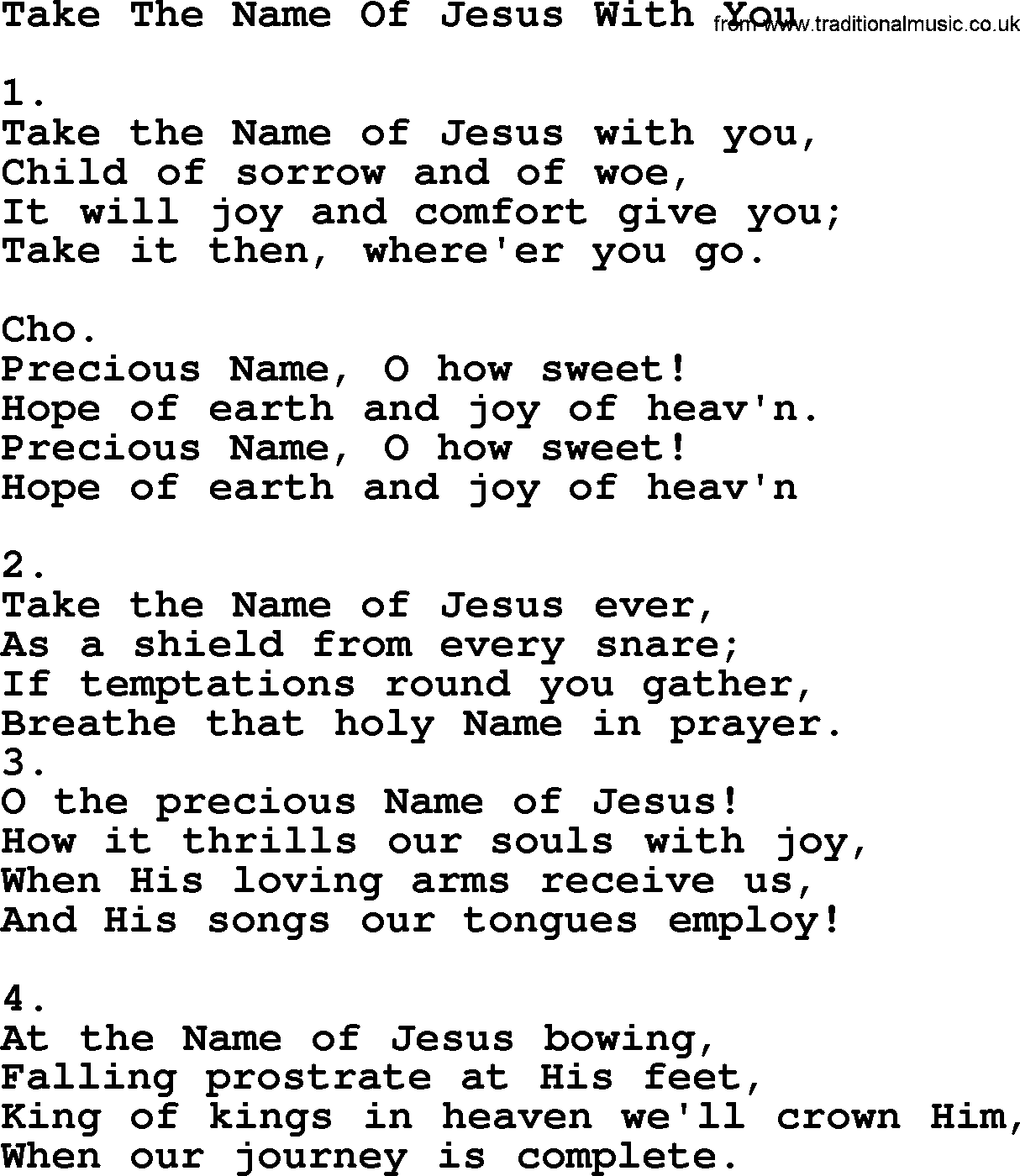 Take The Name Of Jesus With You - Apostolic and Pentecostal