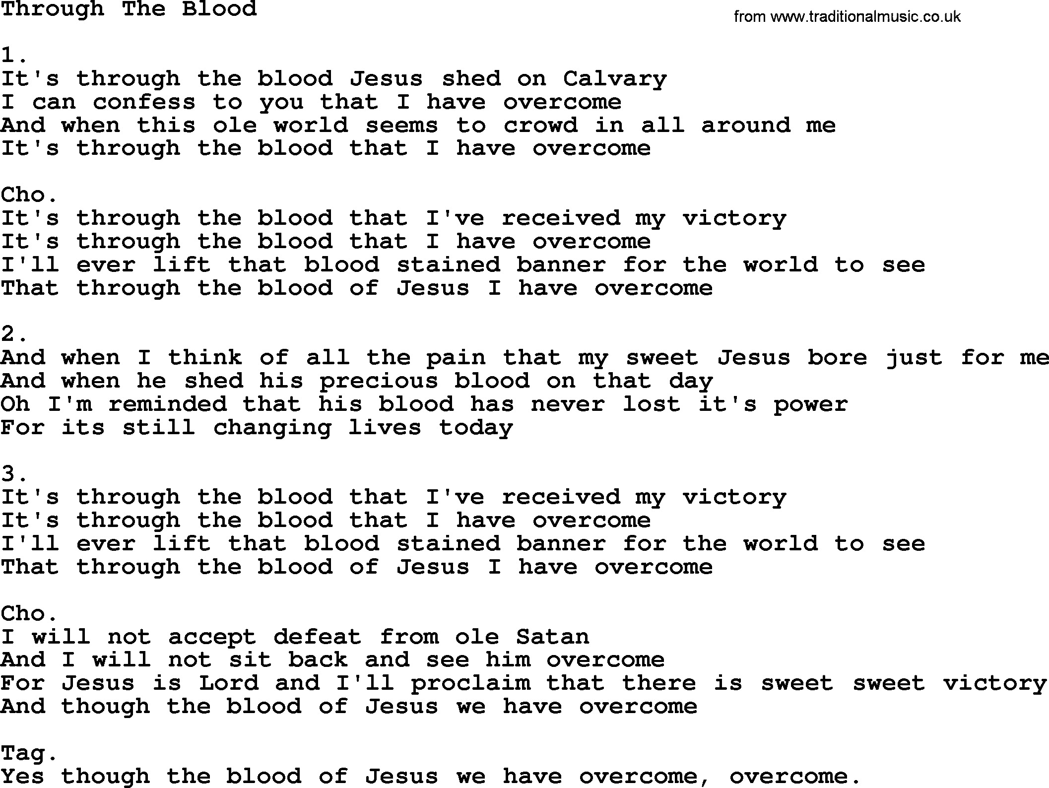 o the blood of jesus chords pdf hymn