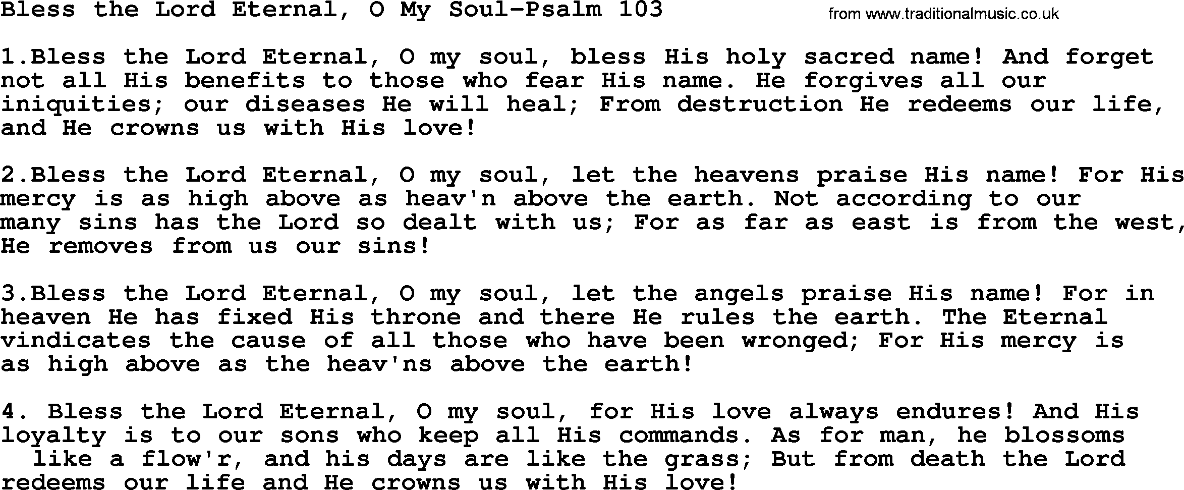 Hymns from the Psalms, Song: Bless The Lord Eternal, O My Soul-Psalm
