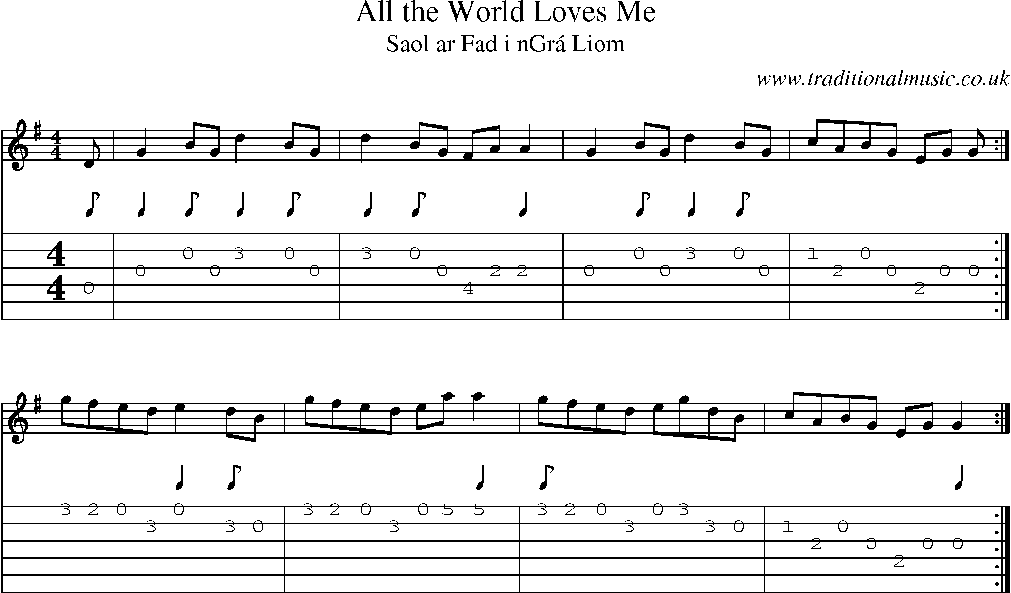 Irish Music Tune: All World Loves Me with Guitar Tab, Sheetmusic, Midi, Mp3 and PDF