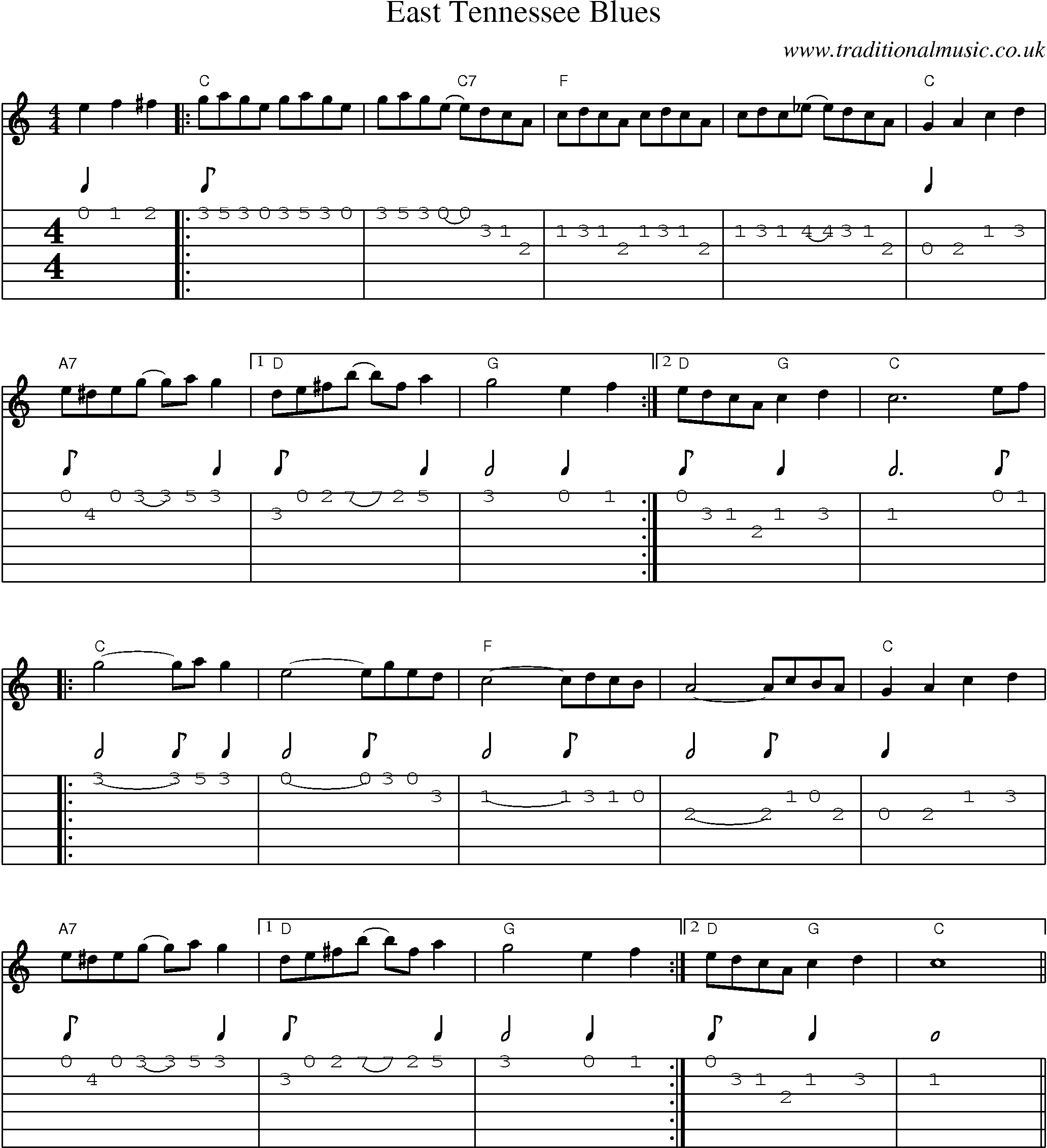 Irish Music Tune: East Tennessee Blues with Guitar Tab