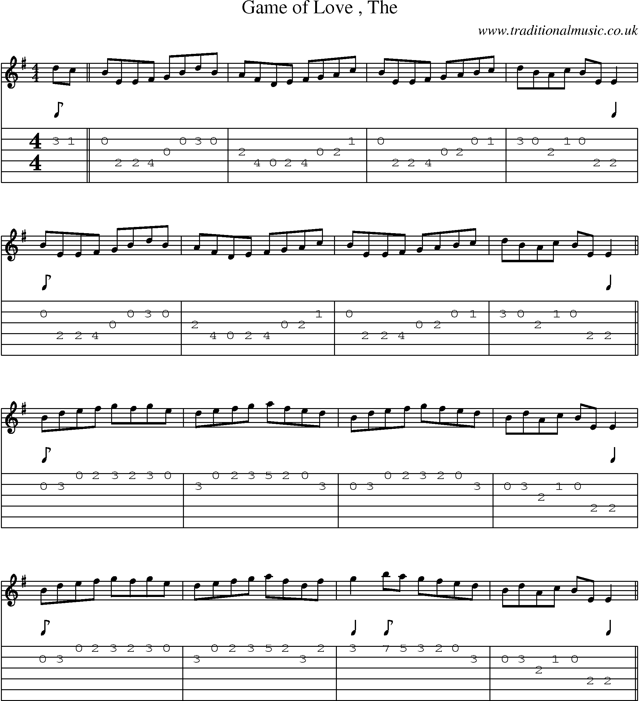 Irish Music Tune: Game Of Love with Guitar Tab, Sheetmusic
