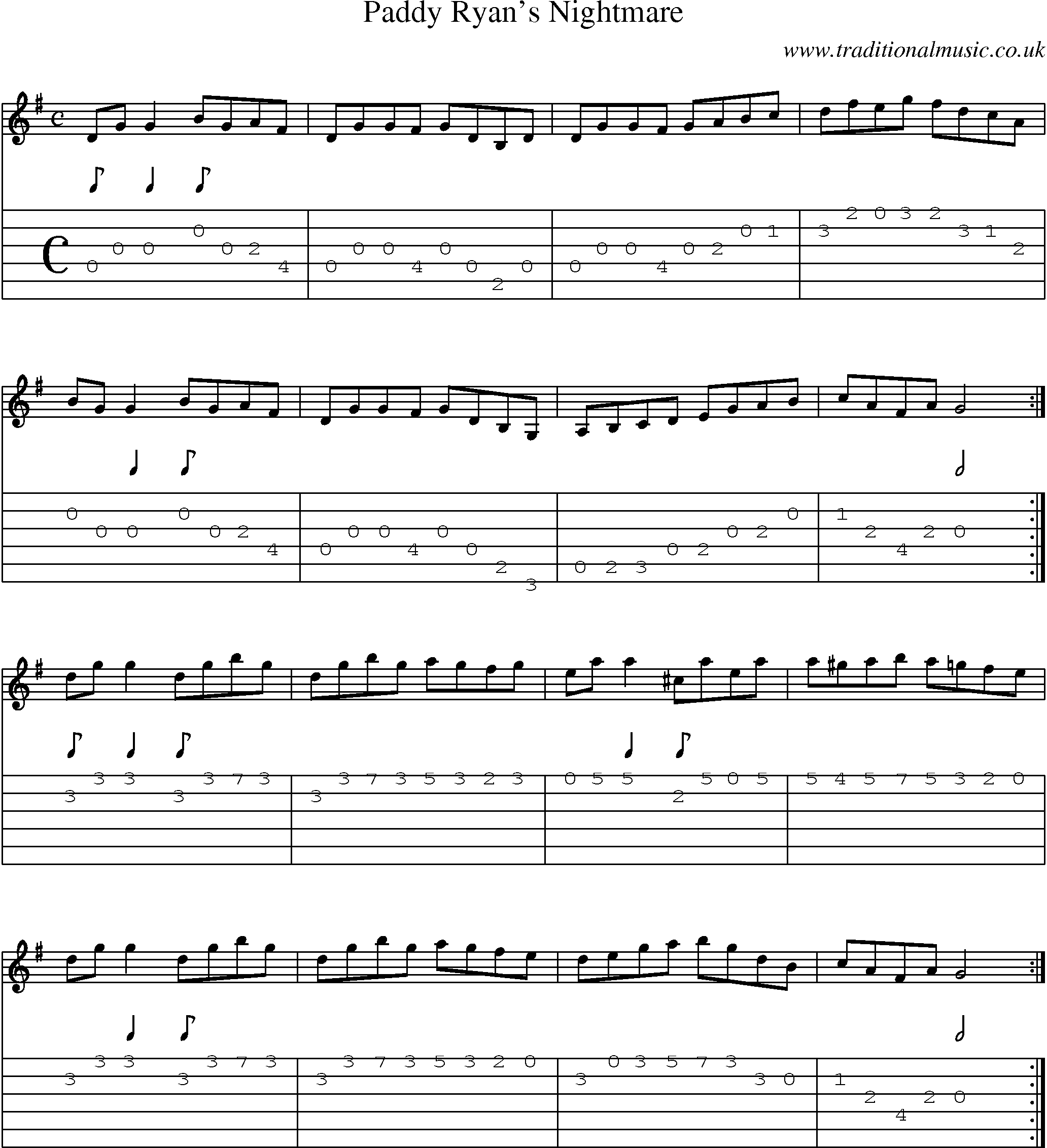 Irish Music Tune: Paddy Ryans Nightmare with Guitar Tab, Sheetmusic, Midi, Mp3 and PDF