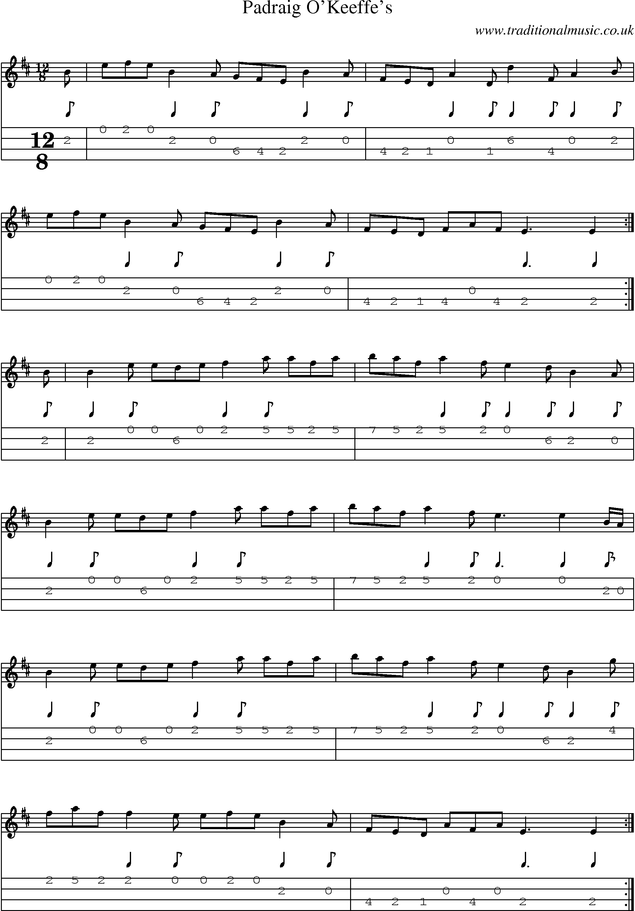 Irish Music Tune: Padraig Okeeffes with Mandolin Tab, Sheetmusic, Midi, Mp3 and PDF