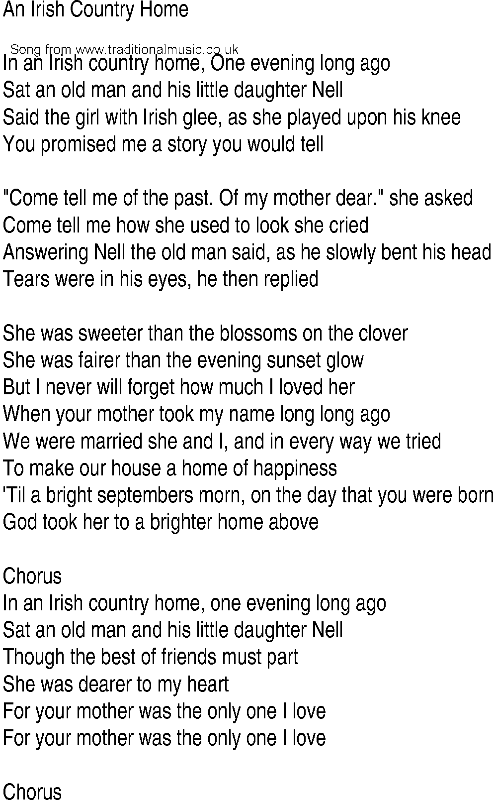 Irish music song and ballad lyrics for an irish country home for House of tracks