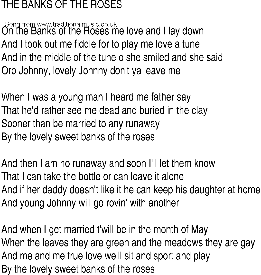 Irish Music Song And Ballad Lyrics For Banks Of The Roses