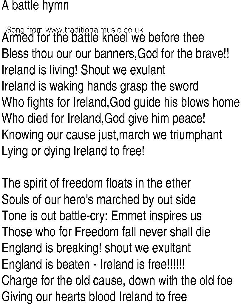 Irish Music, Song and Ballad Lyrics for: Battle Hymn