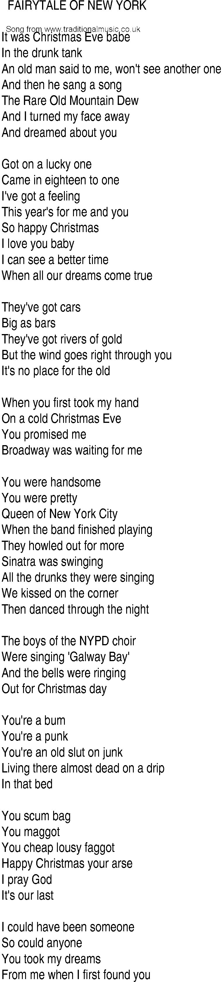 Irish Music, Song and Ballad Lyrics for: Fairytale Of New York