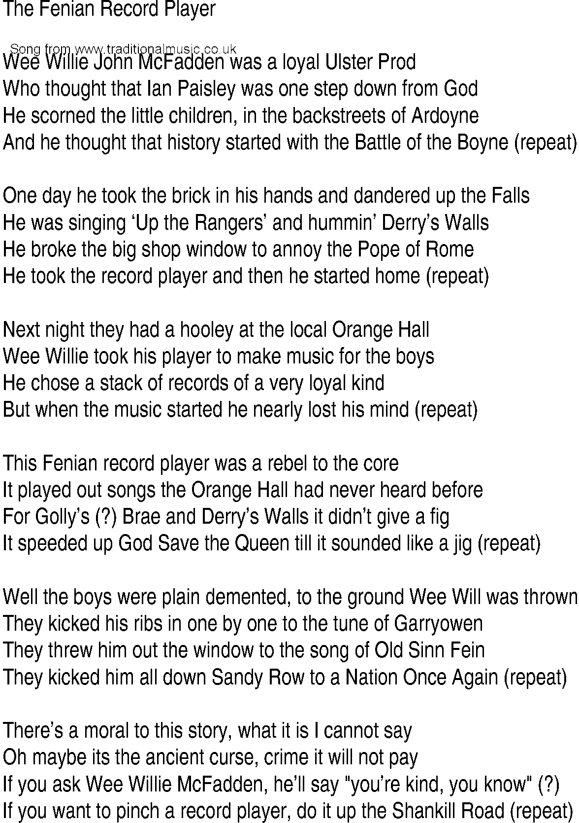 Irish Music, Song and Ballad Lyrics for: Fenian Record Player