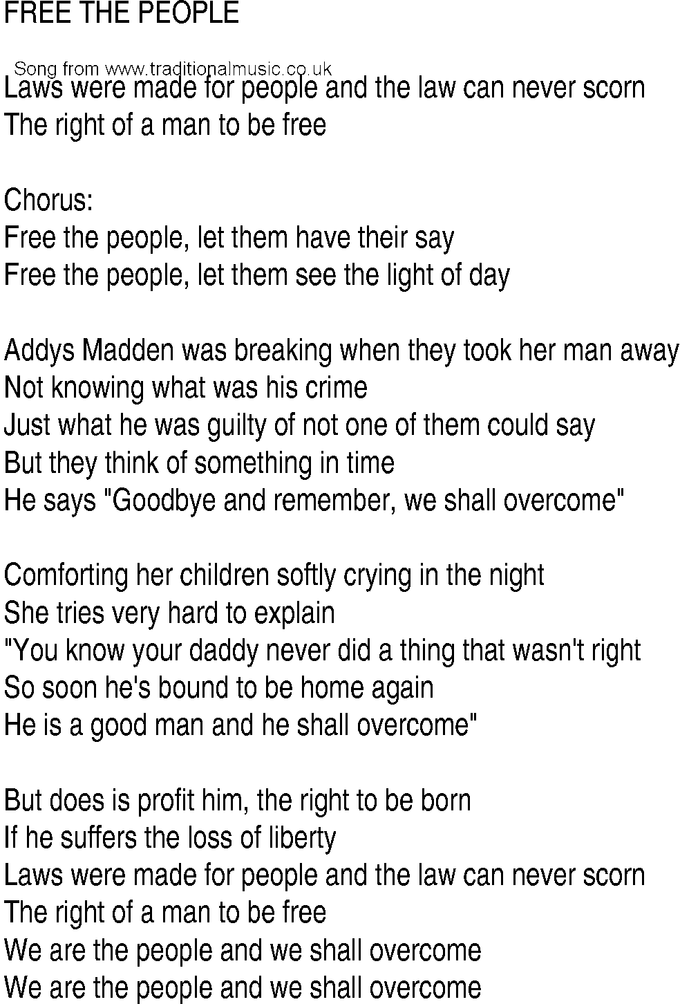 irish music  song and ballad lyrics for  free the people