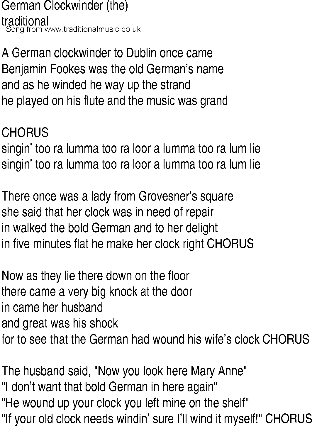 Irish Music, Song and Ballad Lyrics for: German Clockwinder