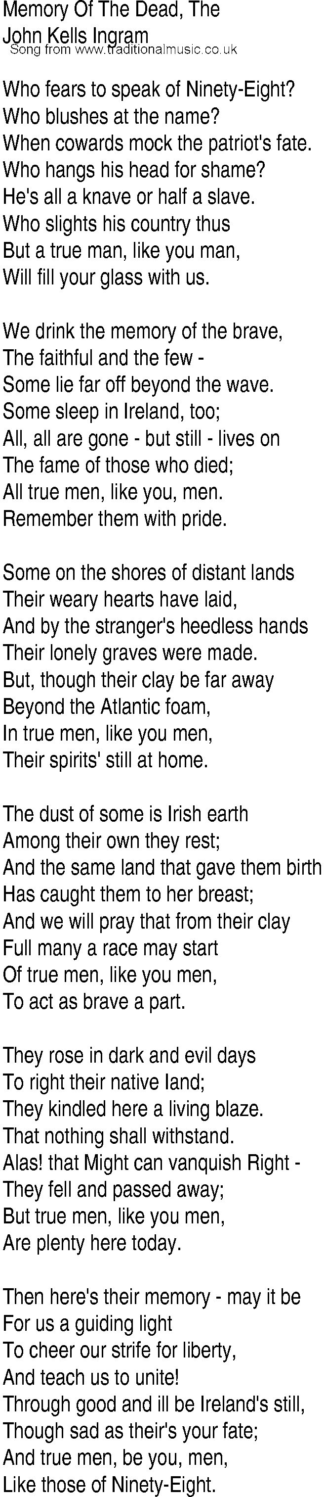 Irish Music, Song and Ballad Lyrics for: Memory Of The Dead