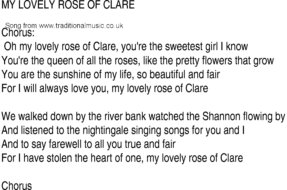 Irish Music Song And Ballad Lyrics For My Lovely Rose Of Clare