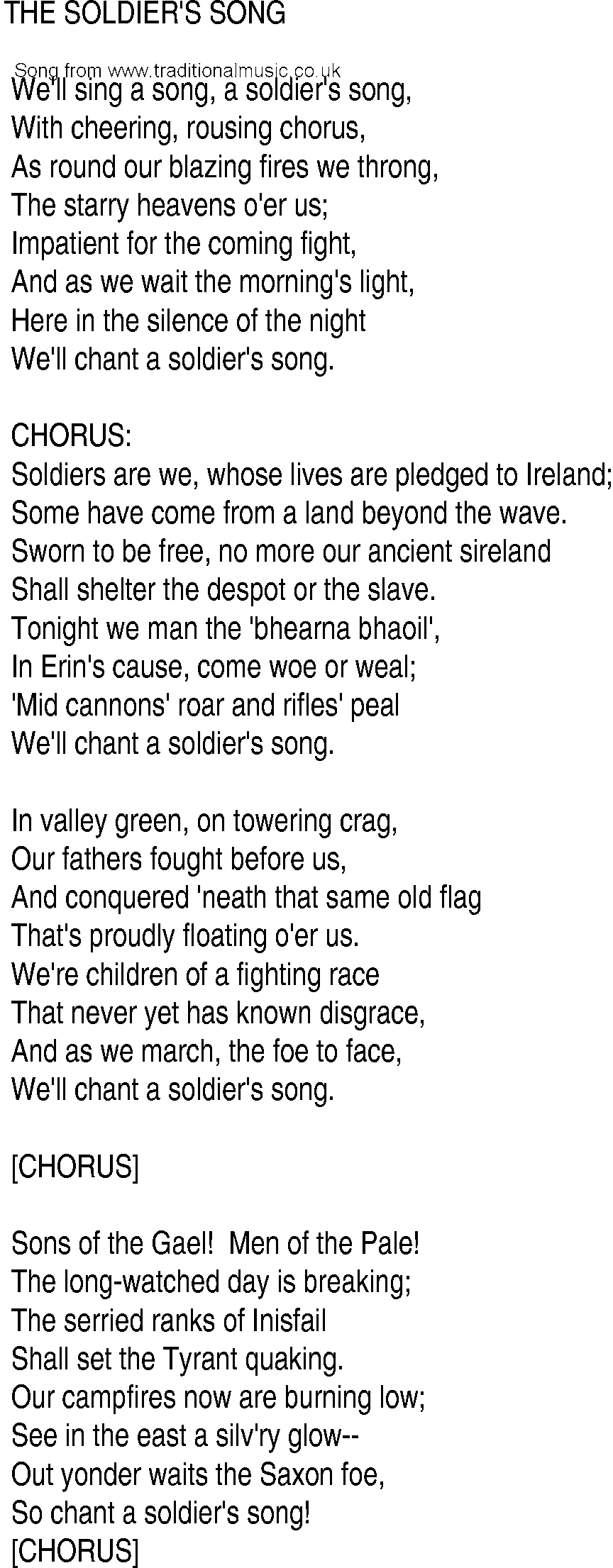 Irish Music, Song and Ballad Lyrics for: Soldiers Song