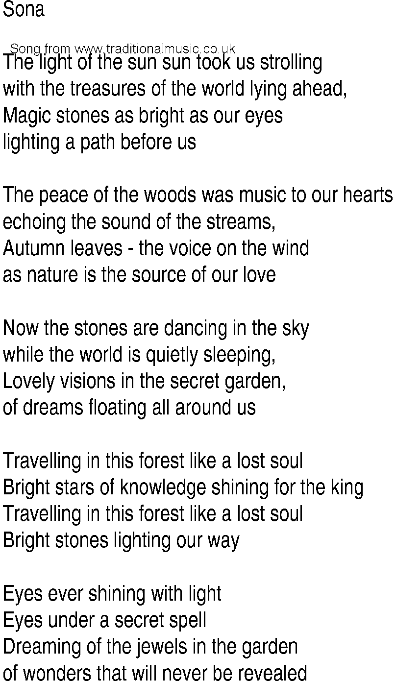 Lyrics for secret garden