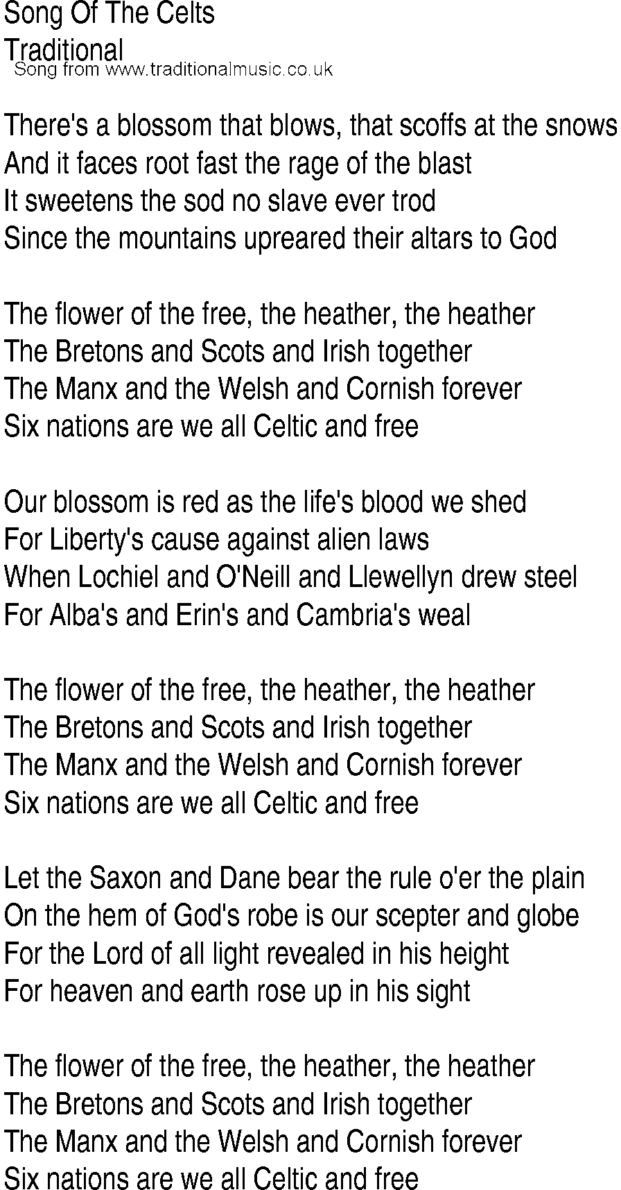 Irish Music, Song and Ballad Lyrics for: Song Of The Celts