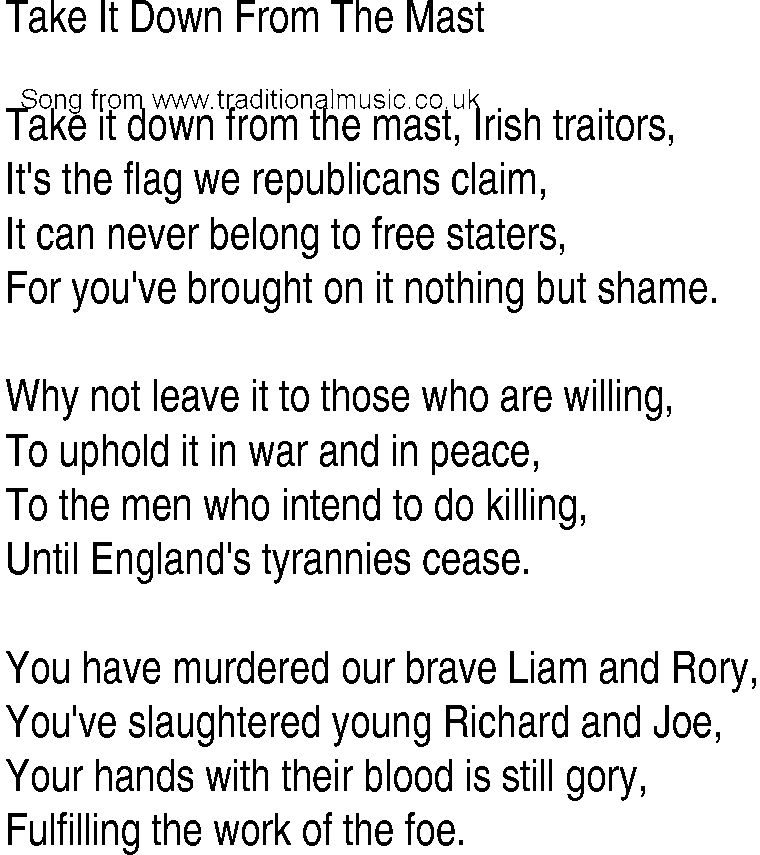 Lyric rory lyrics : Irish Music, Song and Ballad Lyrics for: Take It Down From The Mast