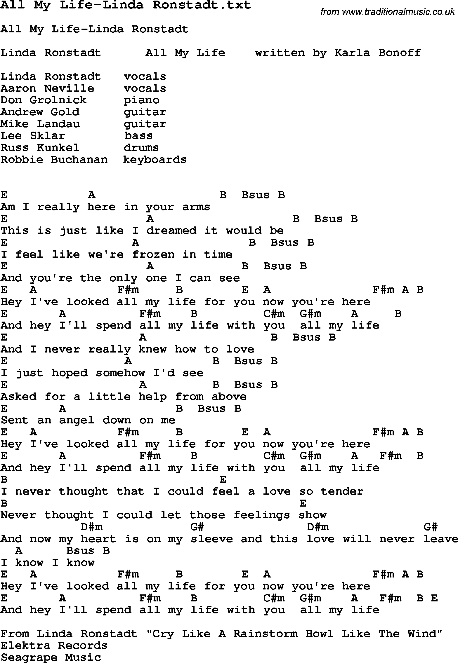 Jazz song all my life linda ronstadt with chords tabs and jazz song from top bands and vocal artists with chords tabs and lyrics all hexwebz Images