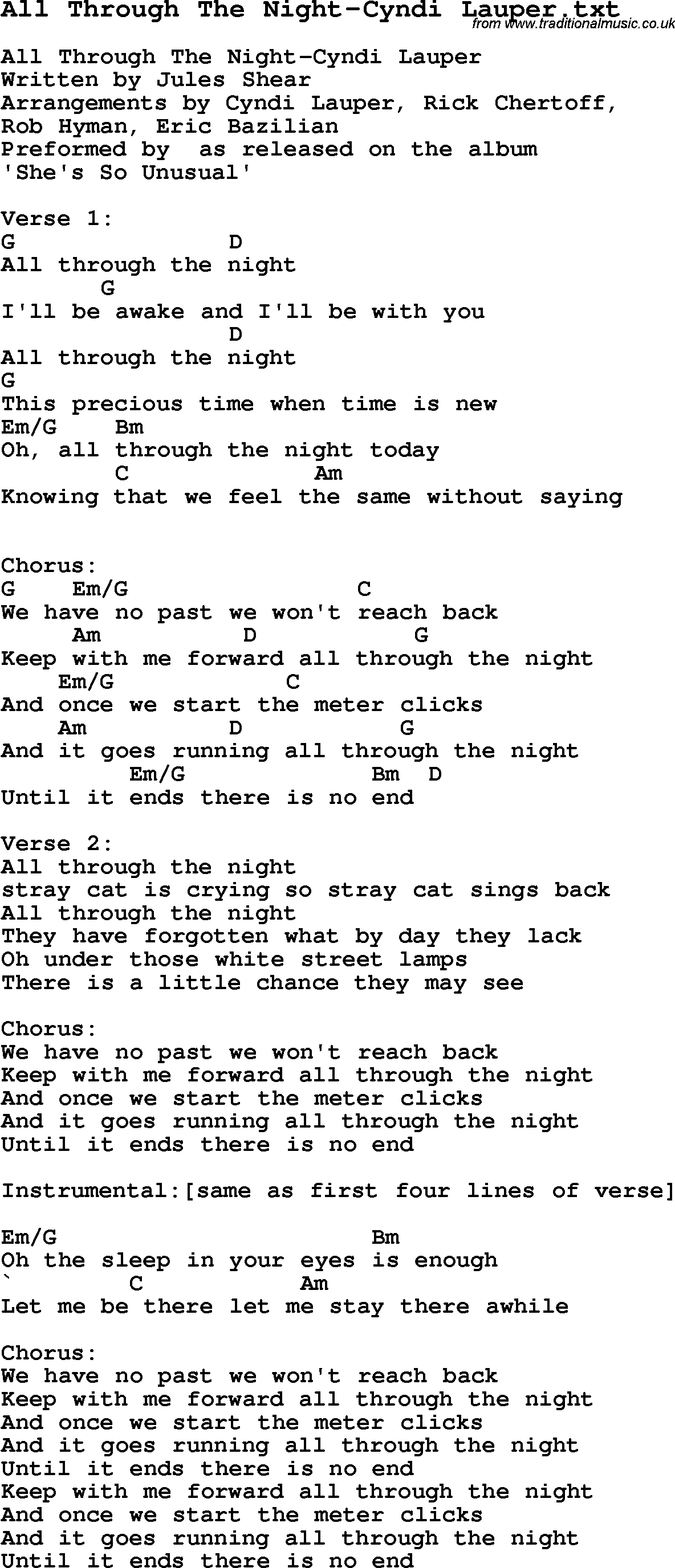 Jazz Song - All Through The Night-Cyndi Lauper with Chords
