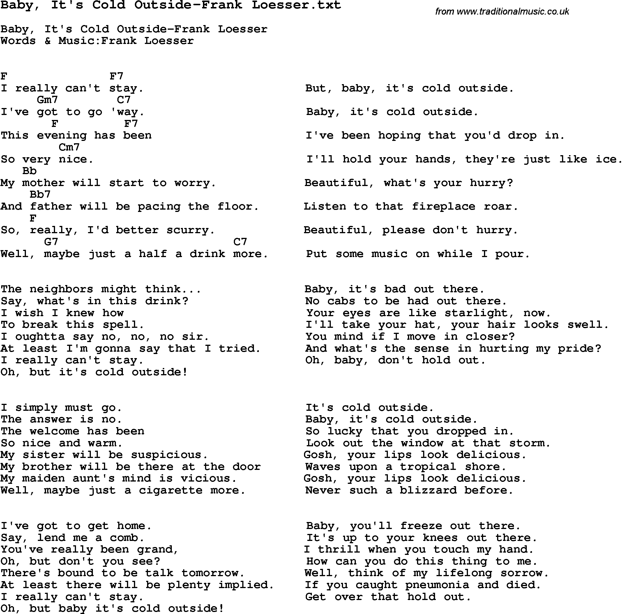Baby It S Cold Outside Lyrics