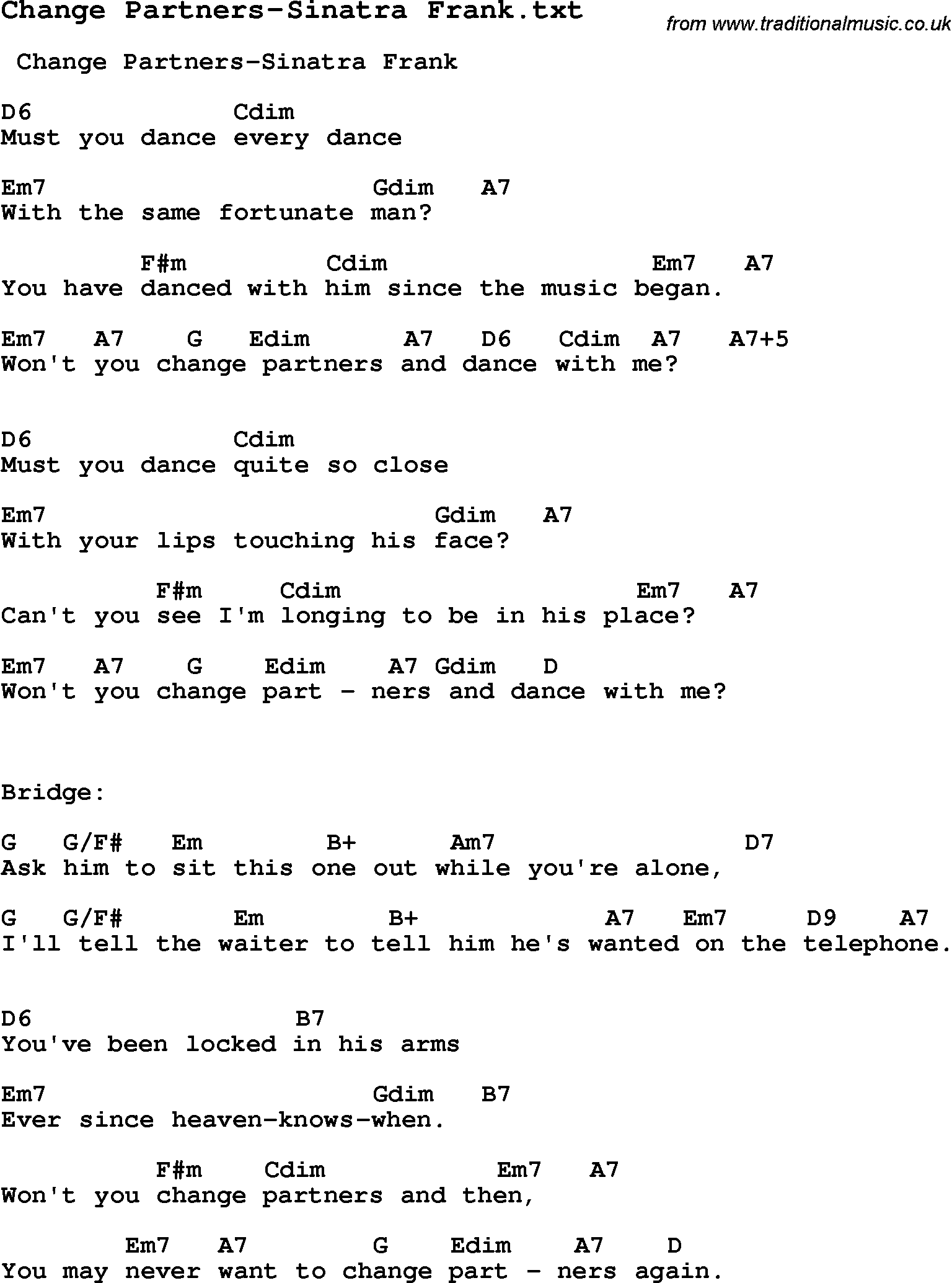 Jazz song change partners sinatra frank with chords tabs and jazz song from top bands and vocal artists with chords tabs and lyrics change hexwebz Gallery