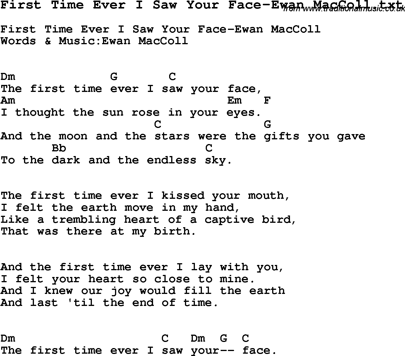 First Time Ever I Saw Your Face-Ewan MacColl