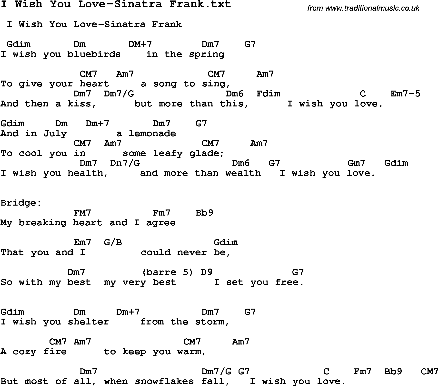 Jazz Song I Wish You Love Sinatra Frank With Chords Tabs And