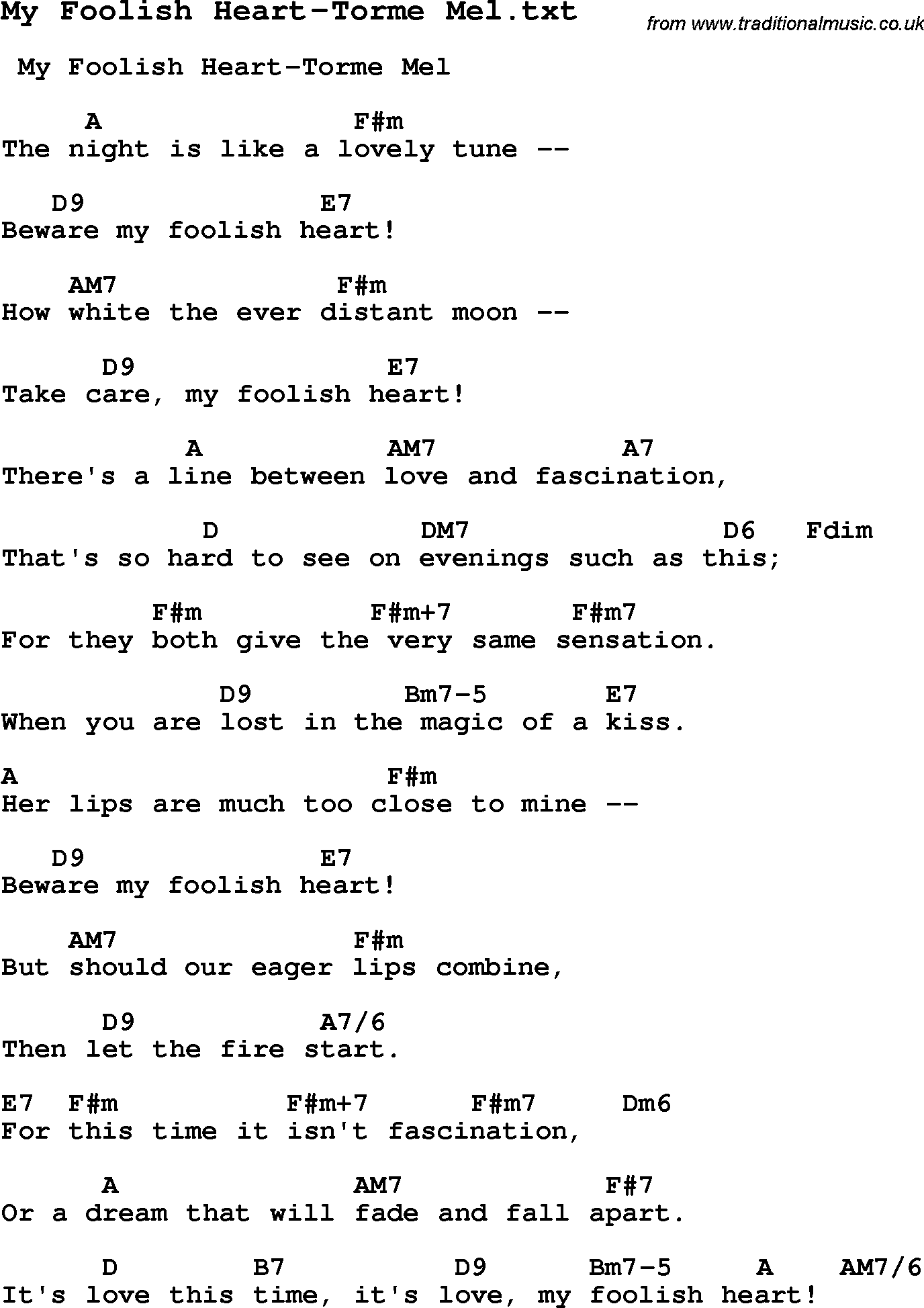 Chords for Foolish Heart ( Remix ) - STEVE PERRY
