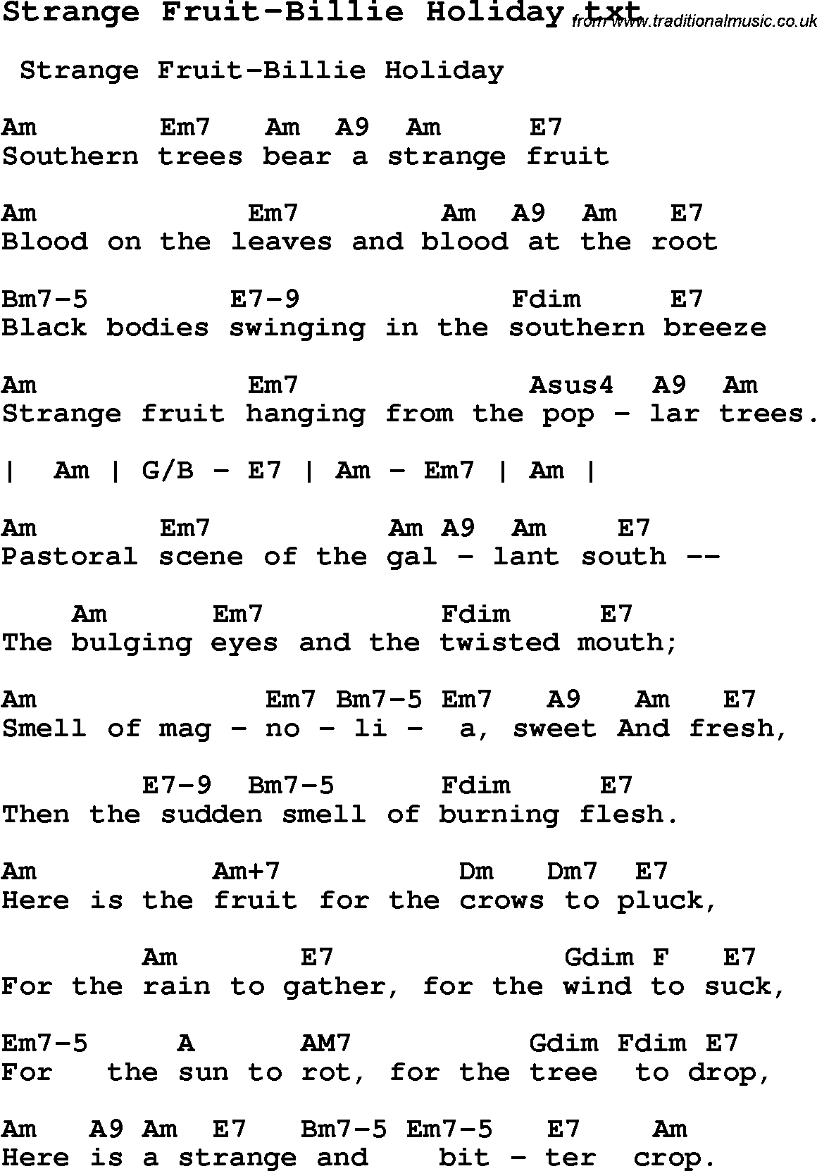 Jazz song strange fruit billie holiday with chords tabs and jazz song from top bands and vocal artists with chords tabs and lyrics strange hexwebz Image collections