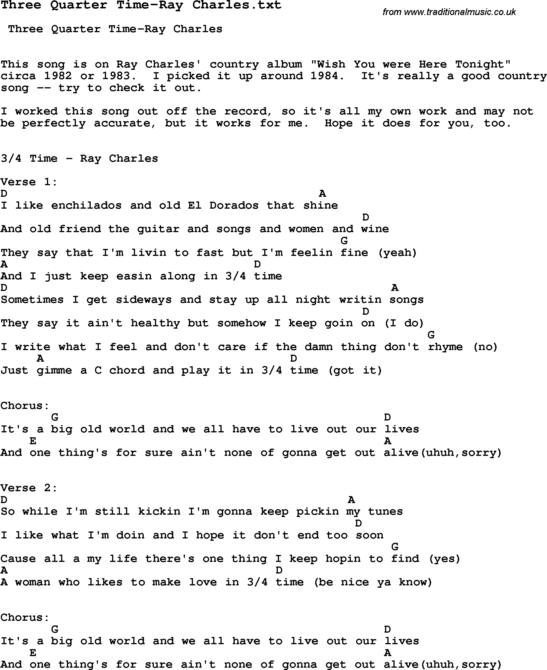 Jazz Song - Three Quarter Time-Ray Charles with Chords, Tabs and Lyrics from top bands and artists