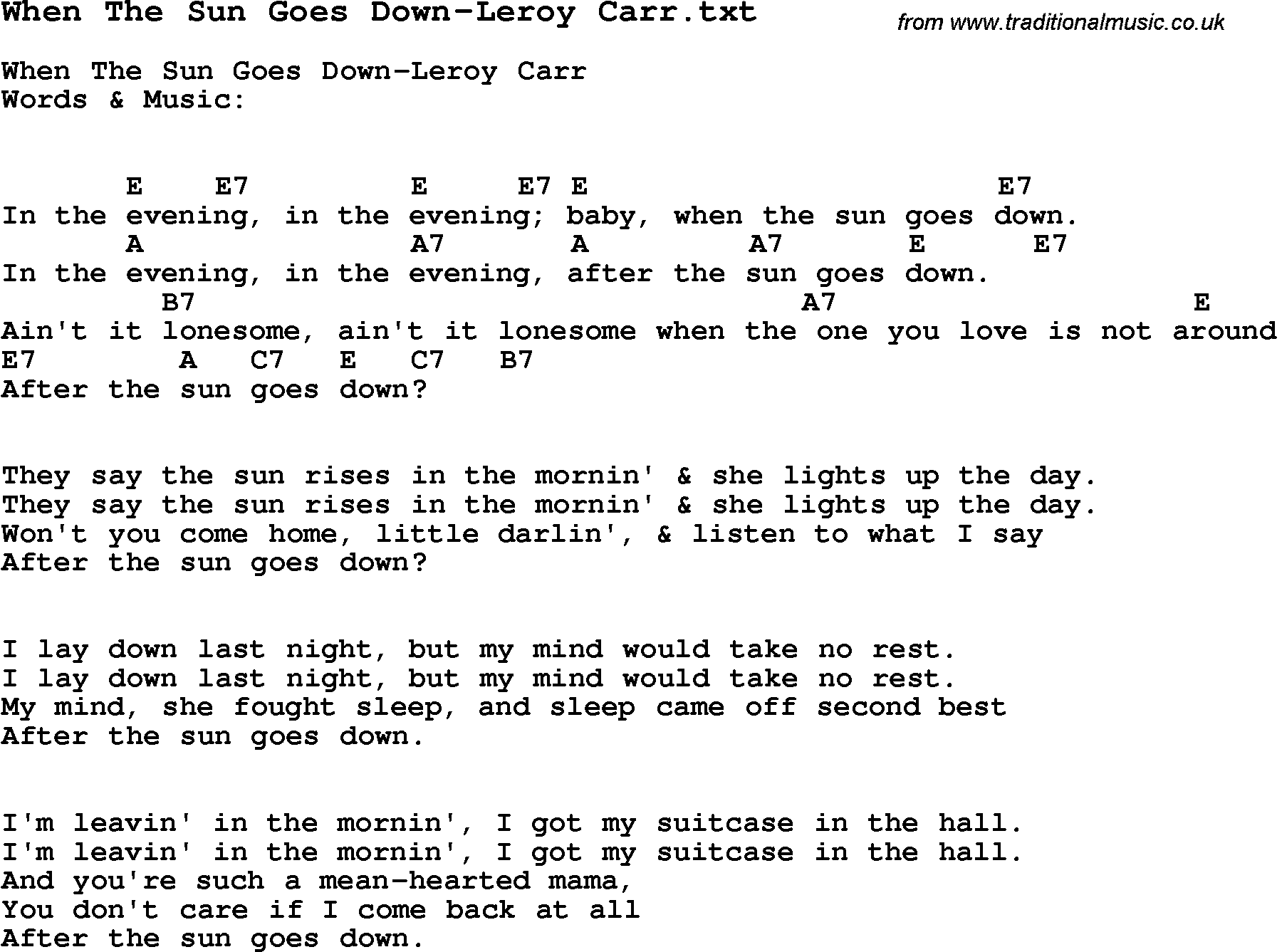 Jazz song when the sun goes down leroy carr with chords tabs jazz song from top bands and vocal artists with chords tabs and lyrics when hexwebz Image collections