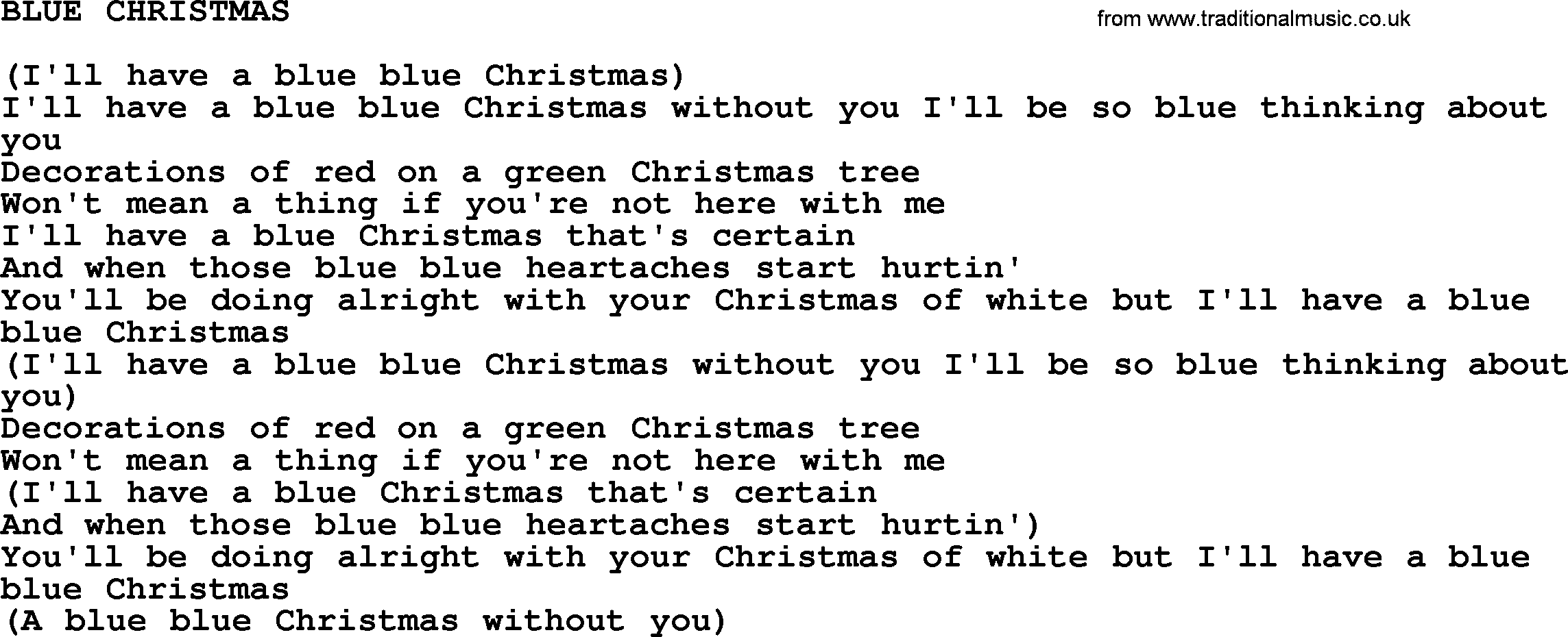 Johnny Cash song: Blue Christmas, lyrics