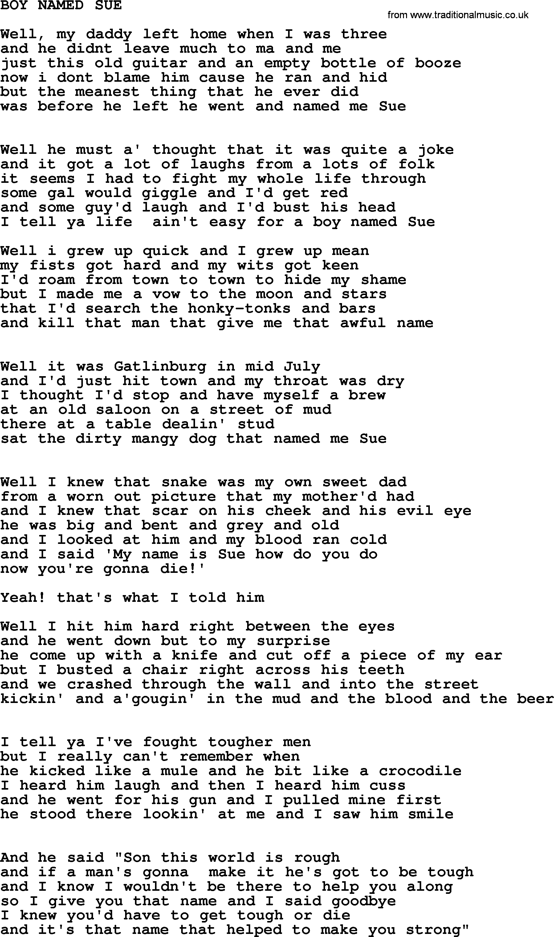 A Boy Named Sue Lyrics
